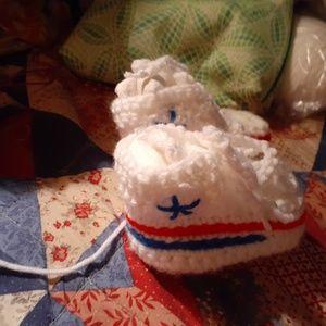 Custom handmade crocheted high top baby booties